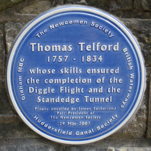 The plaque at Diggle portal, Standedge Tunnel