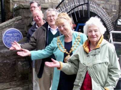 At the unveiling of the plaque at Diggle portal, Standedge Tunnel - Photo: Pennine Waterways
