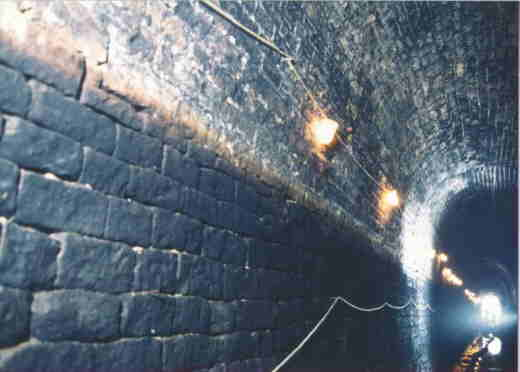 Stone lined section of tunnel - (Photo: British Waterways)