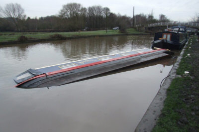 Capsized boat at Broad Cut. Photo: Neil Sanford