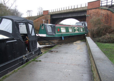 boat on towpath at Broad Cut. Photo: Neil Sanford