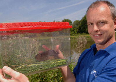 BW's ecology manager Mark Robinson with Vinnie the Vole - Picture: British Waterways