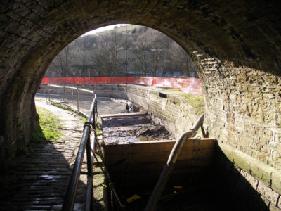 Work at Scout Embankment, Huddersfield Narrow Canal