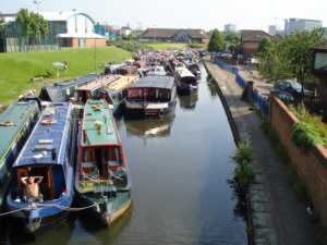 Boats assembled at Eldonian Village on the Leeds and Liverpool Canal
