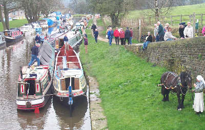 Boats gathered at Marple. Photo courtesy of British Waterways