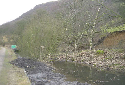 The landslip near Callis Lock. Photo: Pennine Waterways